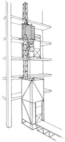 Illustration of a framework in a tower structure form, which is attached to a building. The tower has winches and a boxed-in container that can be raised up and down the tower to move materials and people