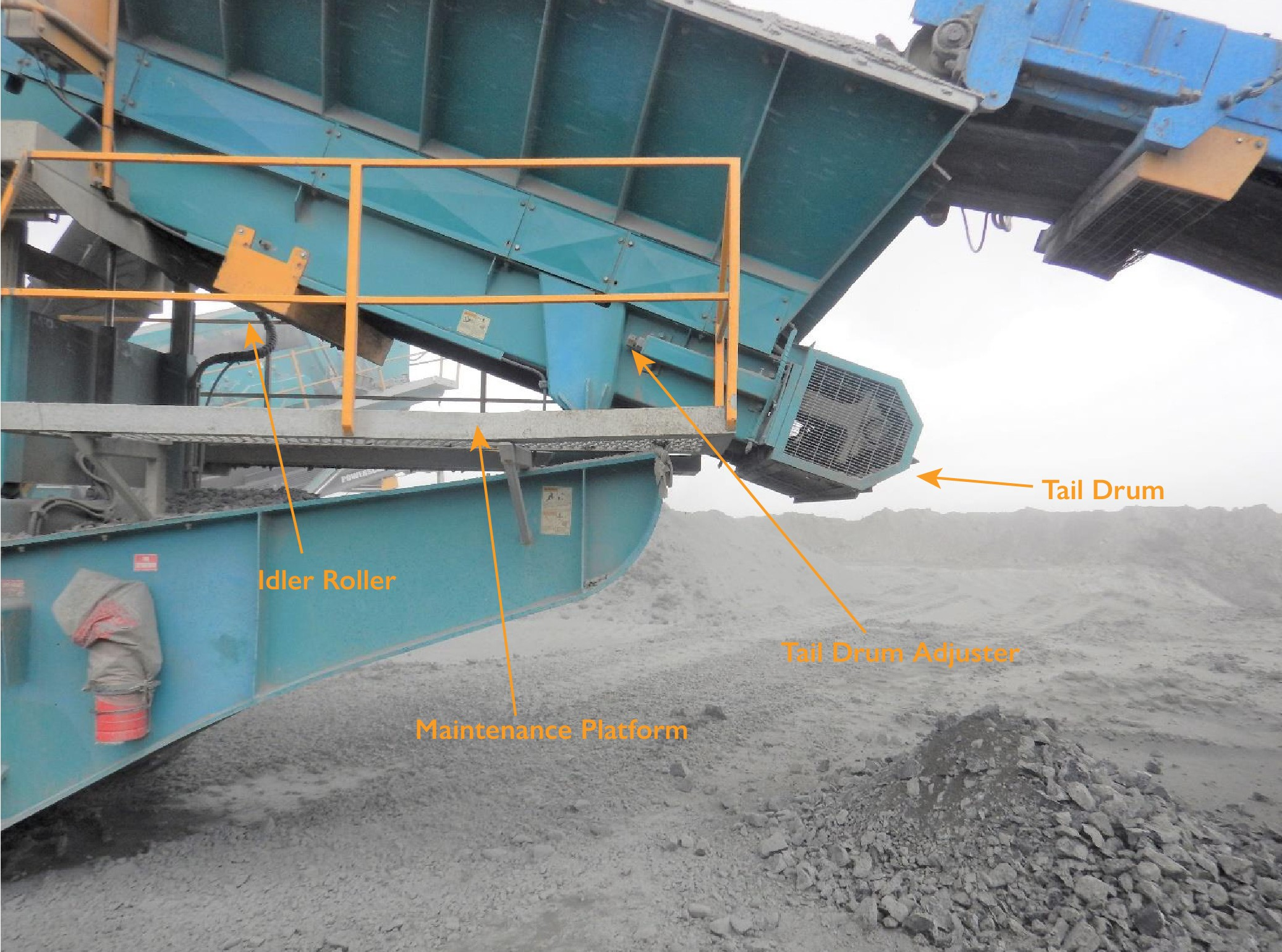 Photo shows detail of conveyor belt where workers was injured
