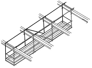 Illustration of a framework structure made of horizontal, vertical and diagonal steel tubes. Horizontal planks form a platform that a person can work from