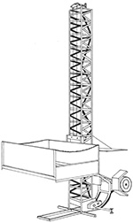 Illustration of a framework in a tower structure form, that has a rectangular open container attached to it. This container can be raised up and down the tower to move materials