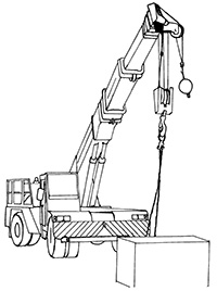 Illustration of a truck with wheels and a large steel arm which is extended outwards from the truck. At the end of the arm is a pulley and hook which can be attached to items for lifting