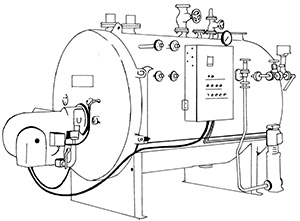 Illustration of a large sealed steel cylinder, raised off the ground and with many operating controls, tubes and gauges.