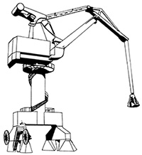 Illustration of a large structure mounted on a frame, with a large steel arm extended horizontally that is used to move items. This tower is sitting on supportive bases