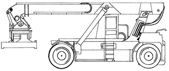 Illustration of a truck with wheels and a cabin. It has a large steel arm that lies along the length of the truck. This arm has an attachment at the end that can be used to lift and move shipping containers
