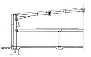 Illustration of steel beams and columns erected to form a completed structure.