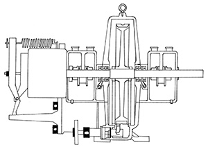 Illustration of a mechanical system of shafts, gears and other components that operate a turbine